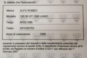 1968 ALFA ROMEO GT JUNIOR 1300 SCALINO www.cristianoluzzago.it Brescia Italy (52)