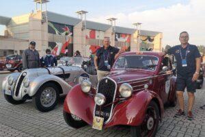 05 In partenza dalla cittadella del carnevale di Viareggio (2) 1000 MIGLIA 2021 FIAT 508 BERLINETTA AERODINAMICA CRISTIANO LUZZAGO CESARE MERONI