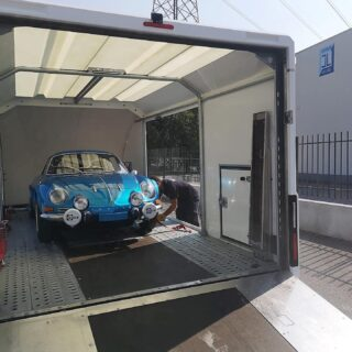 Heading to a new home. Bye, gorgeous!  #cl_theblueroom #alpinerenault #classiccarslover #rarecars #racecar #frenchclassiccar #1973car